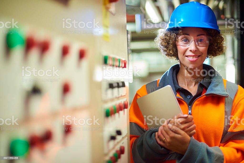 female boiler room engineer royalty-free stock photo