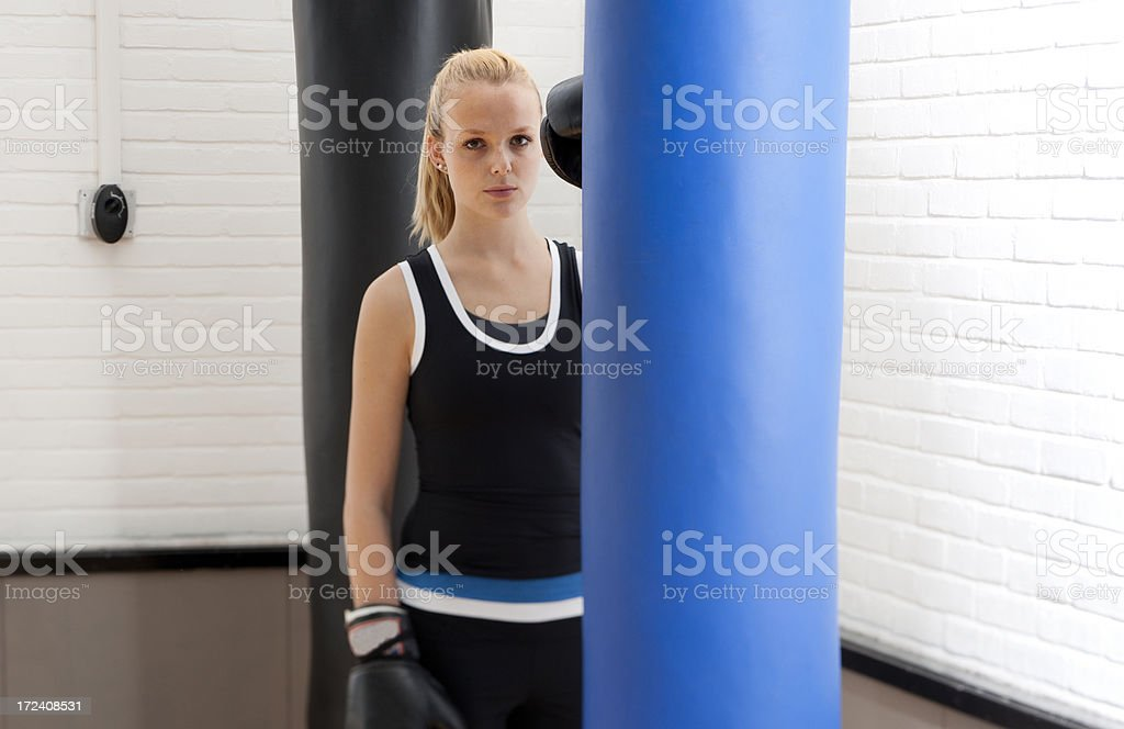 female boxer in gym royalty-free stock photo