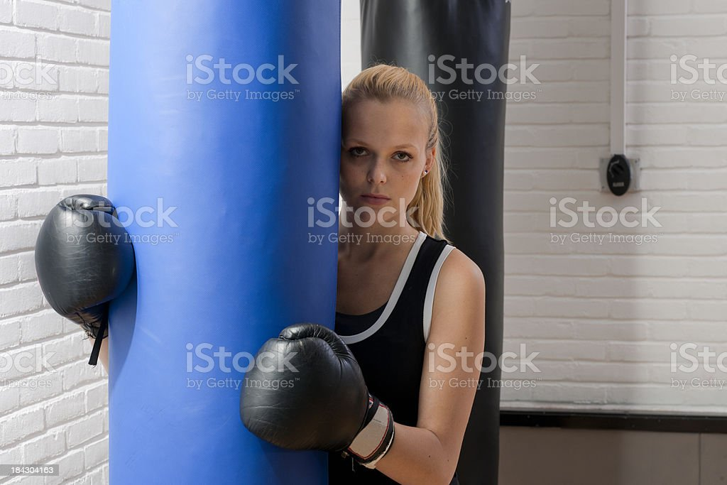 female boxer in gym, XXXL image stock photo