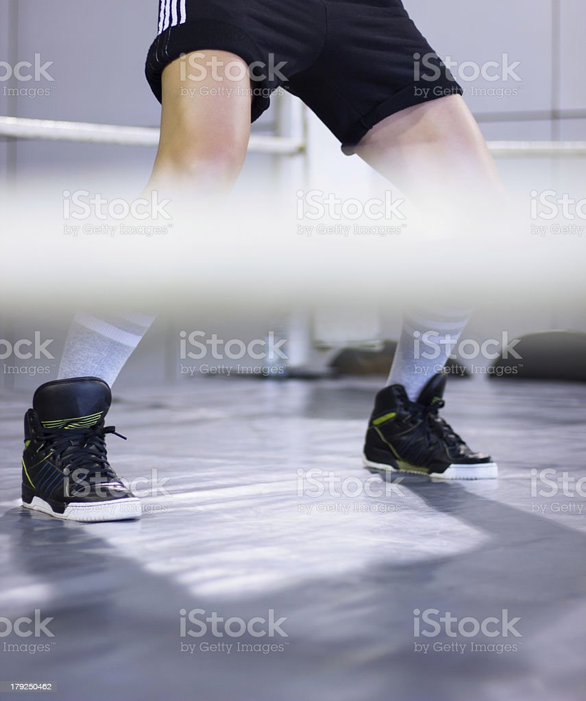 Female boxer legs the ring royalty-free stock photo
