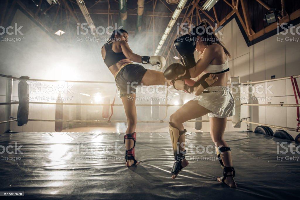 Pugilistas femininas tendo uma luta no ringue durante treinamento esportivo. - foto de acervo