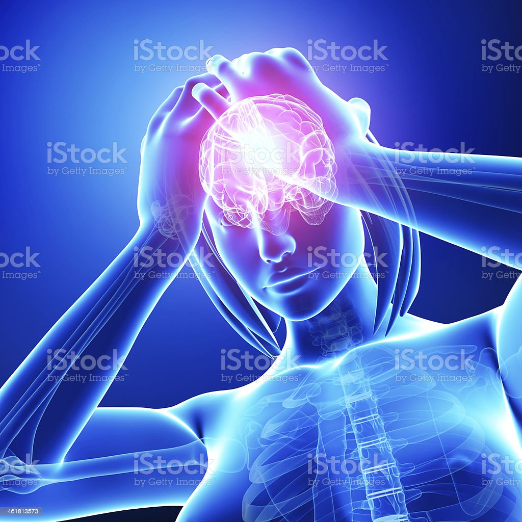 female brain pain stock photo