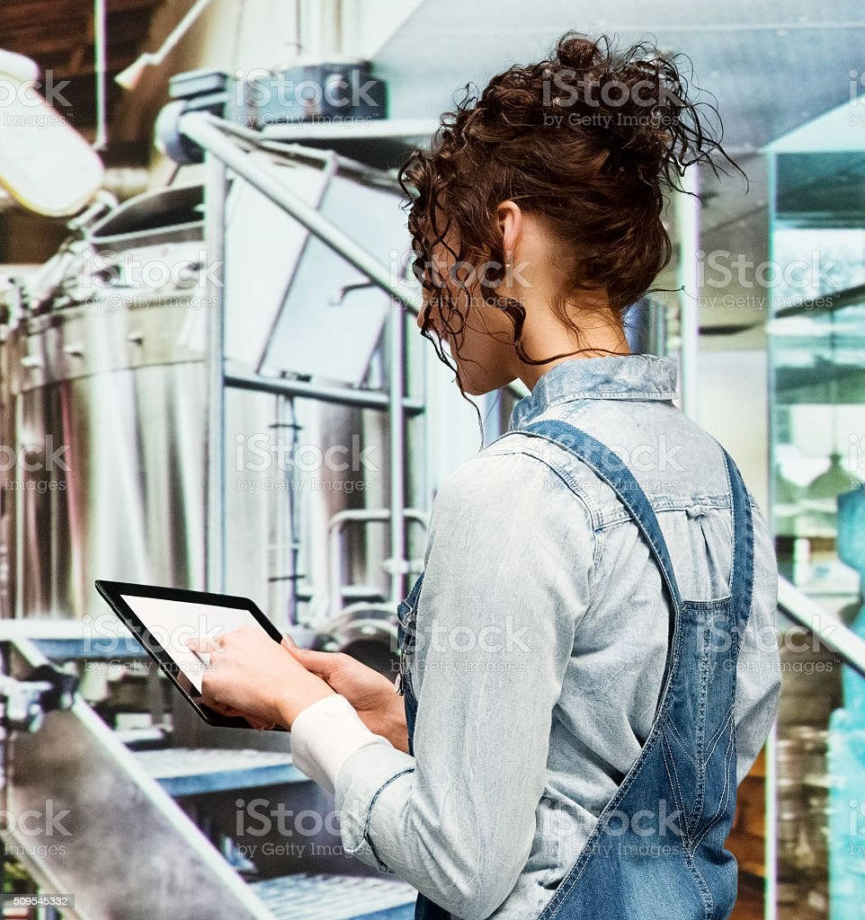 Female brewmaster working in brewery stock photo