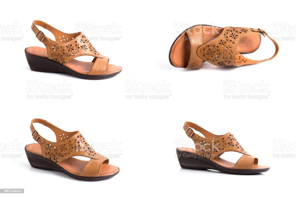 744edf332121b Female Brown Leather Elegant Sandals On White Background Isolated ...