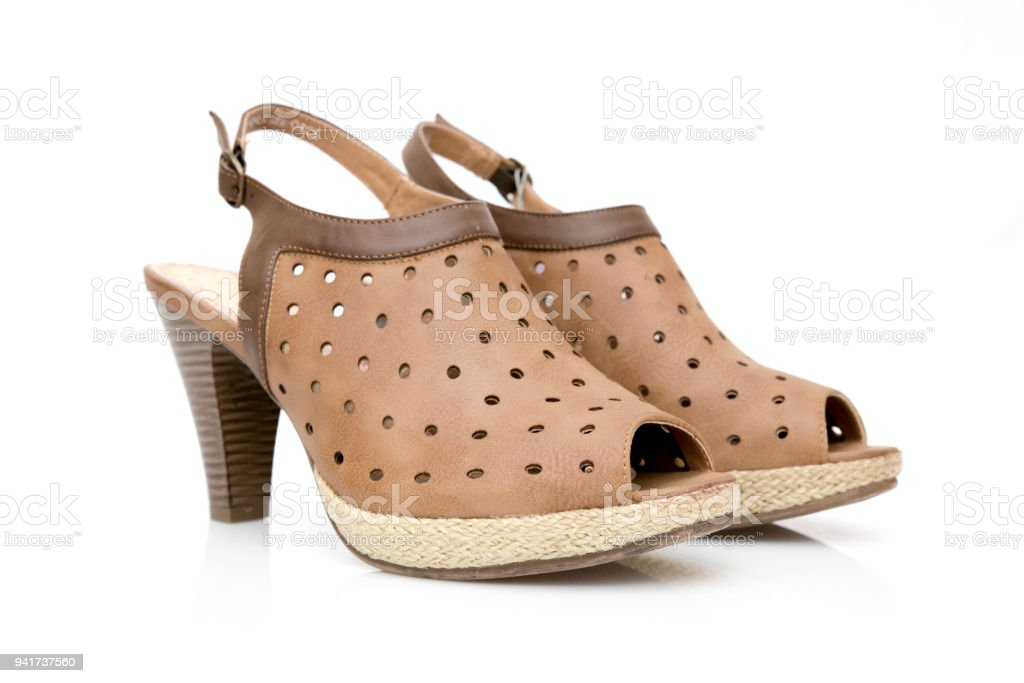 5c7acd6b3dee2 Female Brown Leather Sandal On White Background Isolated Product ...