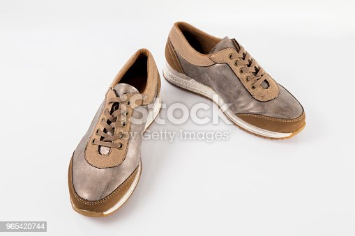 Female Brown Leather Sneaker On White Background Isolated Product Comfortable Footwear - Stockowe zdjęcia i więcej obrazów Aspiracje