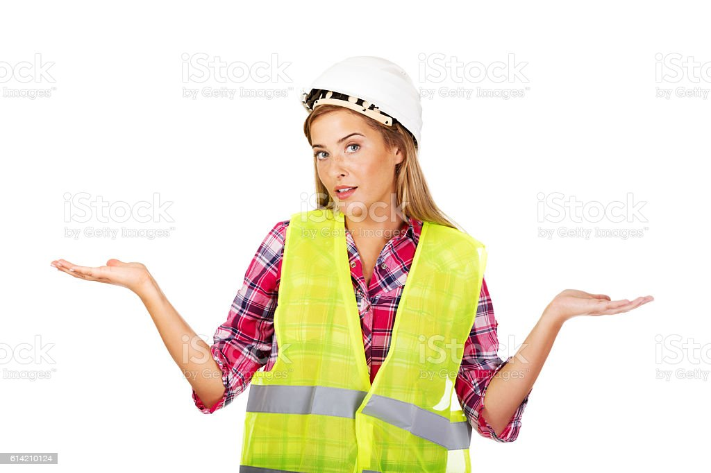 Female builder making do not know sign stock photo