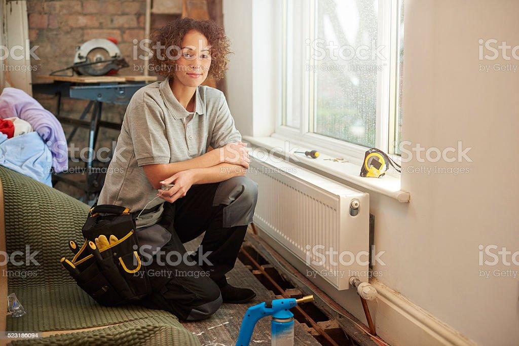 female building contractor stock photo