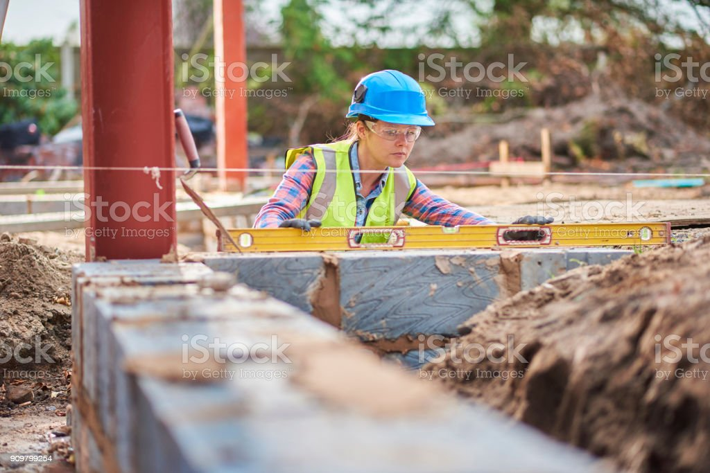 female building contractor stock photo