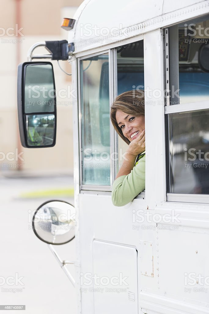Female bus driver royalty-free stock photo