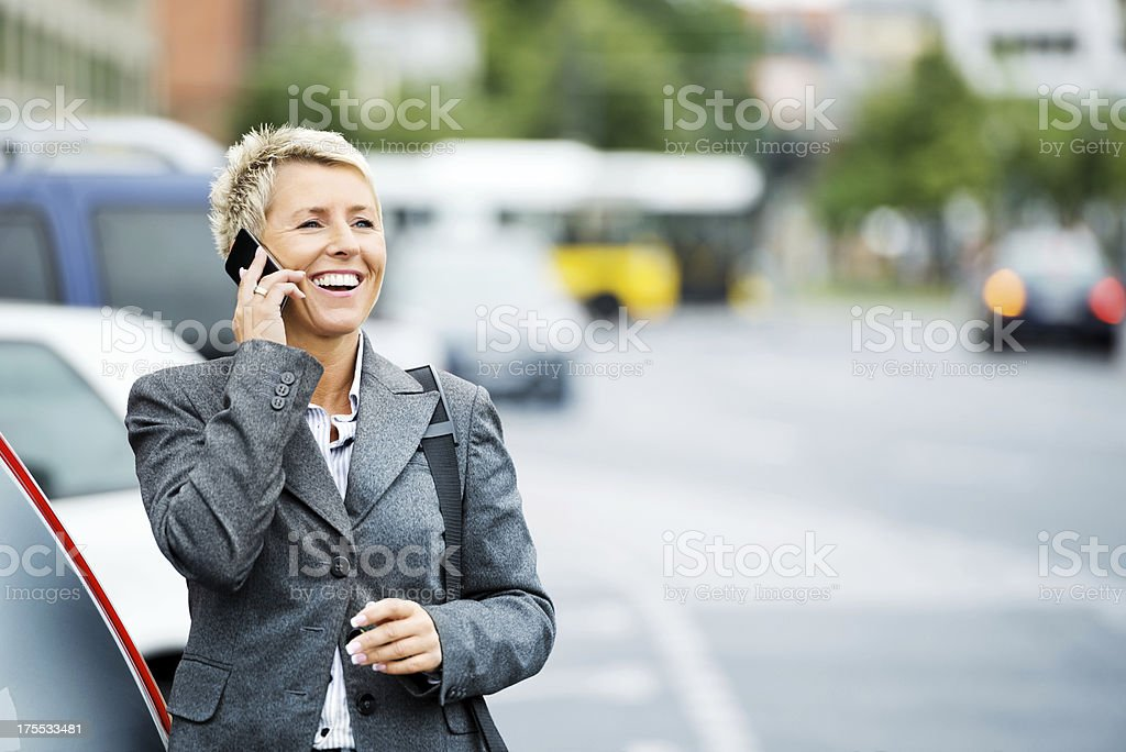 Female Business Executive On Phone Call stock photo