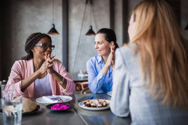 Female businesswoman on a meeting in a restaurant stock photo