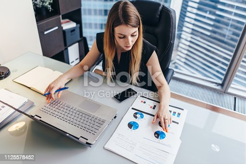 istock Female businesswoman readind financial report analyzing statistics pointing at pie chart working at her desk 1125578452