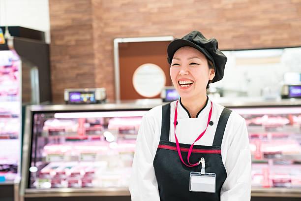雌ブッチャー、スーパーマーケット - 小売販売員 ストックフォトと画像