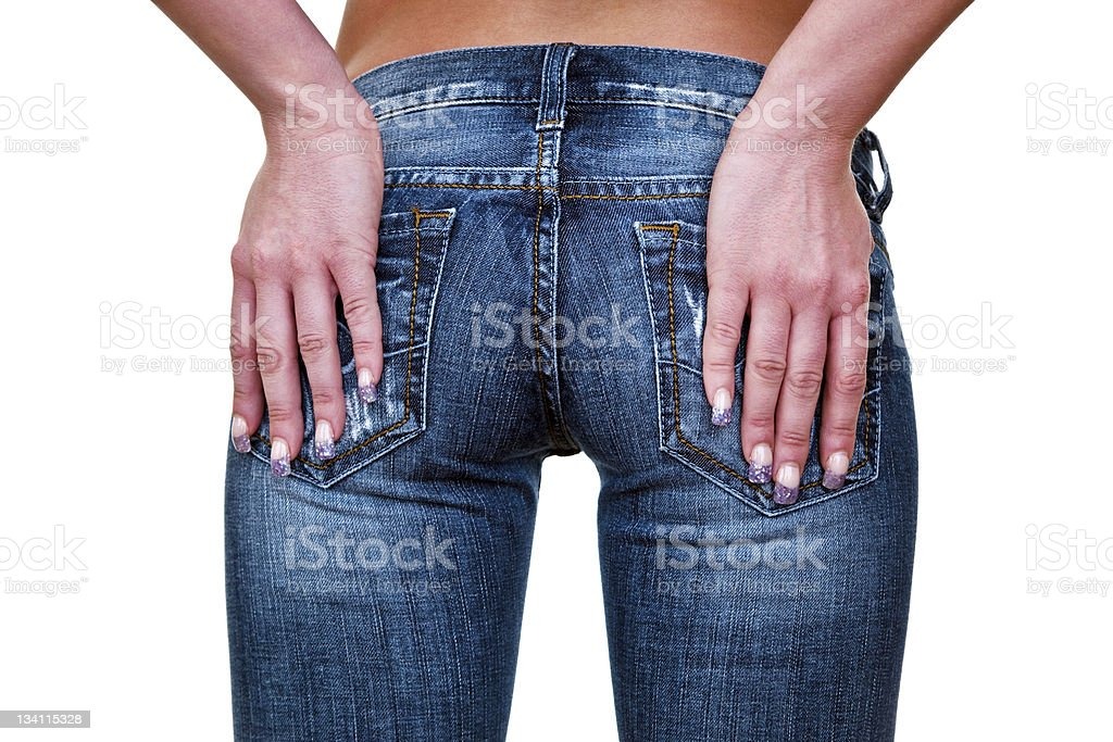 Female buttocks wearing jeans royalty-free stock photo