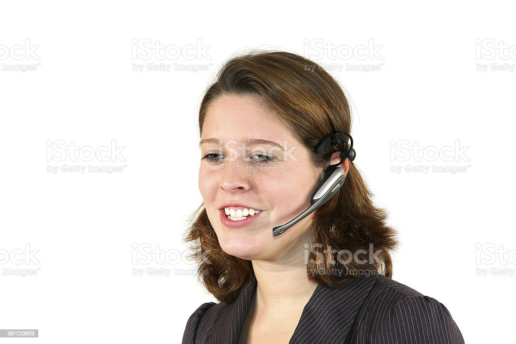 female call center agent discussing with client royalty-free stock photo