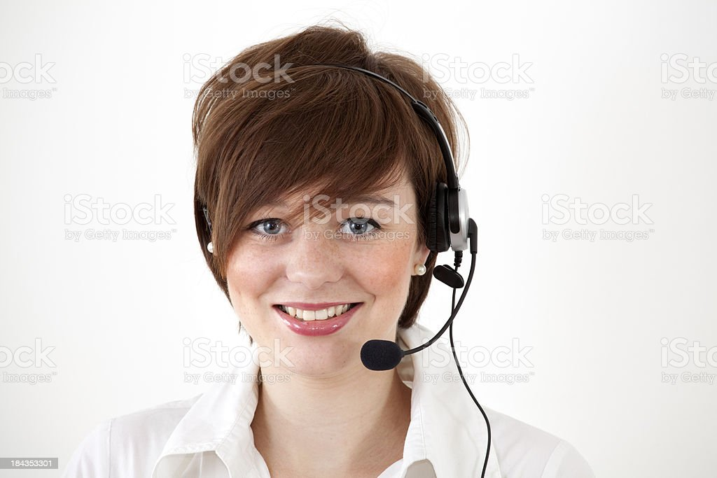 female call center agent on white royalty-free stock photo