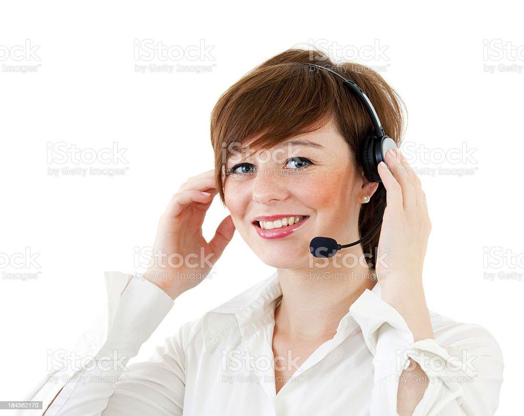 Femme agent de centre d'appel sur blanc - Photo