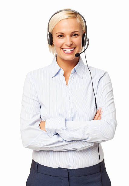 Female Call Center Representative Wearing Headset stock photo