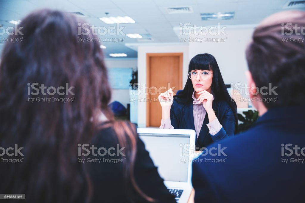 Female Candidate Attending a Job Interview royalty-free stock photo