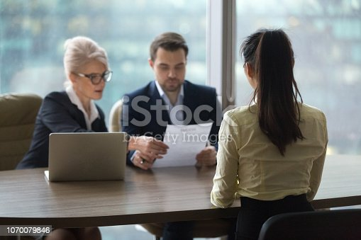 istock Female candidate interview with HR managers in office 1070079846