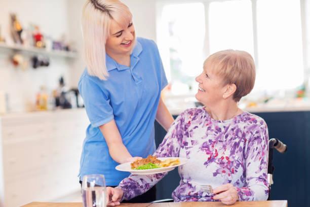 Weibliche Pflegeassistentin serviert Mahlzeit für Seniorin im Rollstuhl am Tisch sitzend – Foto
