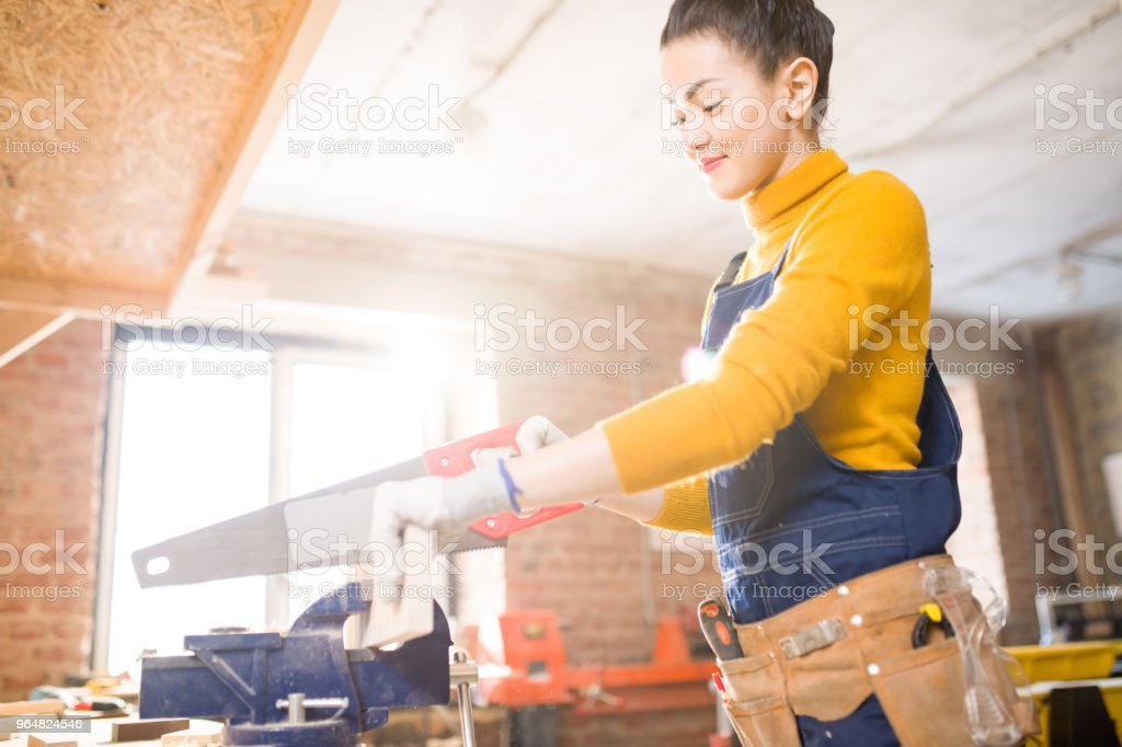Female Carpenter Cutting Wood royalty-free stock photo