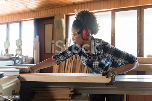 istock Female Carpenter In Her Workshop 836140256