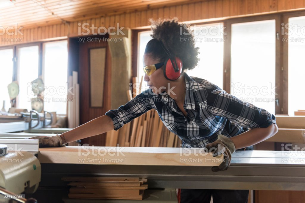 Female Carpenter In Her Workshop stock photo