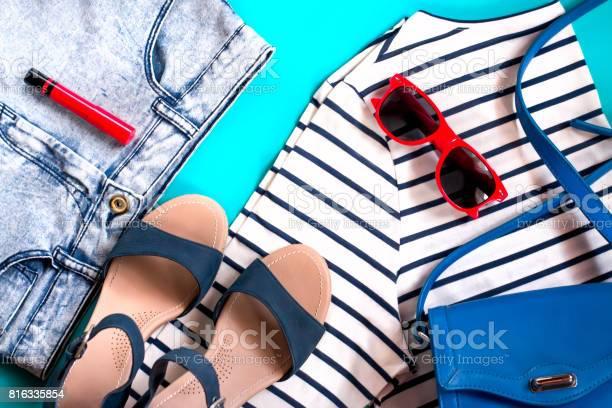 Female casual clothes collection flat lay top view picture id816335854?b=1&k=6&m=816335854&s=612x612&h=5hsr8bajtanr8btolb hxo87gvibomxp9pfmuut21vi=