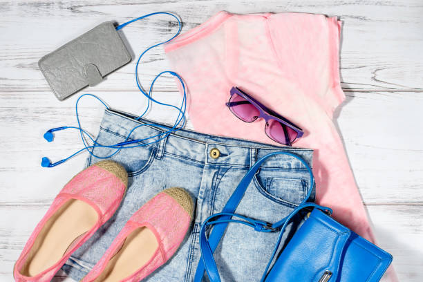 Female casual summer clothes collection overhead stock photo