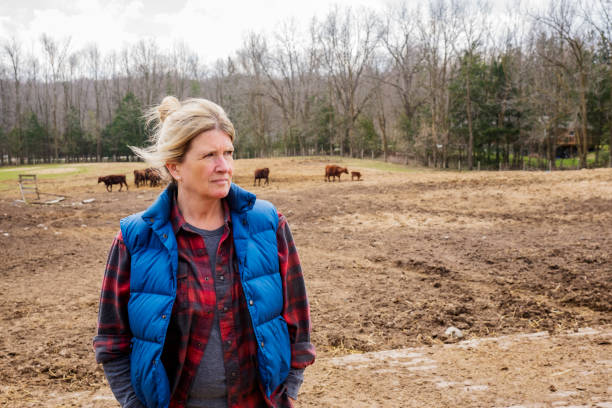 A female cattle farmer outside in a pasture stock photo