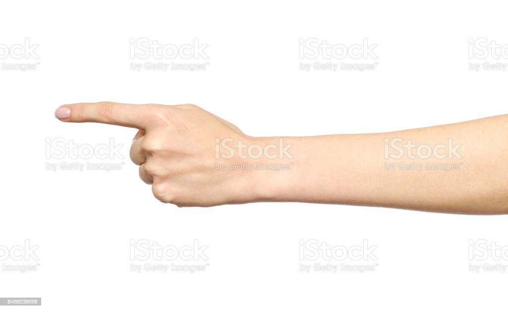 Geste de la main blanche femelle d'un seul doigt pointé isolé sur blanc - Photo