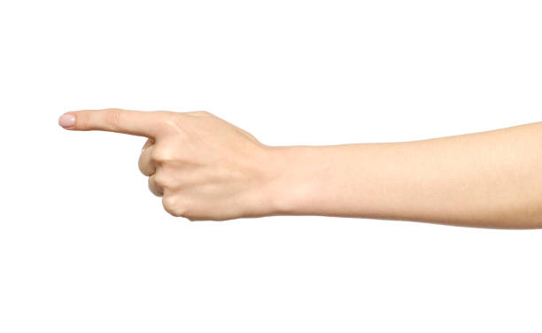 female caucasian hand gesture of a single pointing finger isolated on white - finger point stock photos and pictures