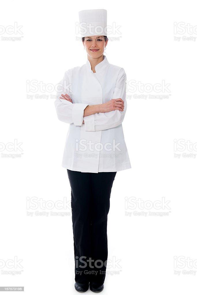 Female Chef Isolated on White - Full Length stock photo