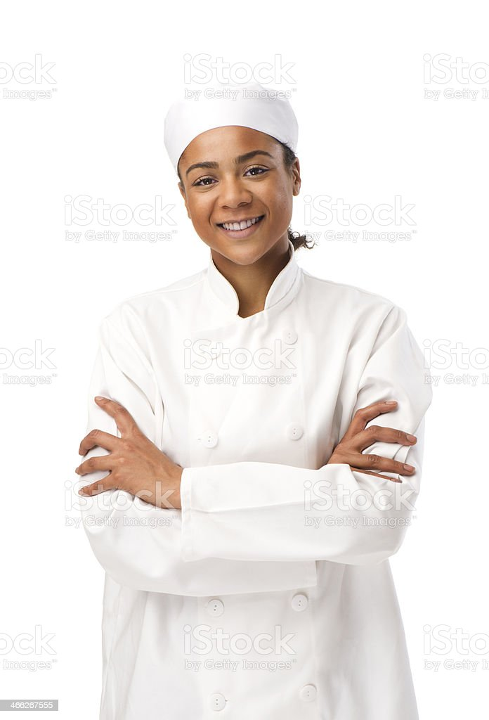 female chef isolated stock photo
