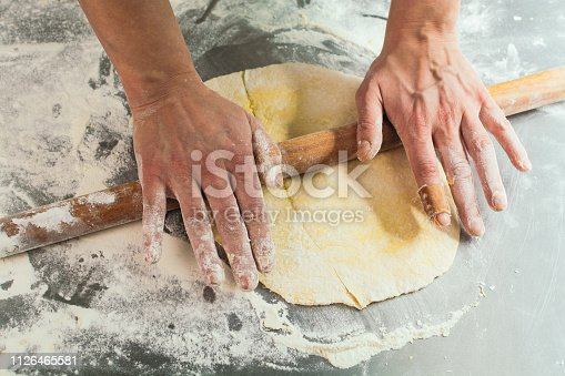 673400318istockphoto Female chef making dough with rolling pin 1126465581