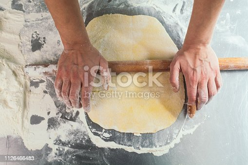 673400318istockphoto Female chef making dough with rolling pin 1126466483