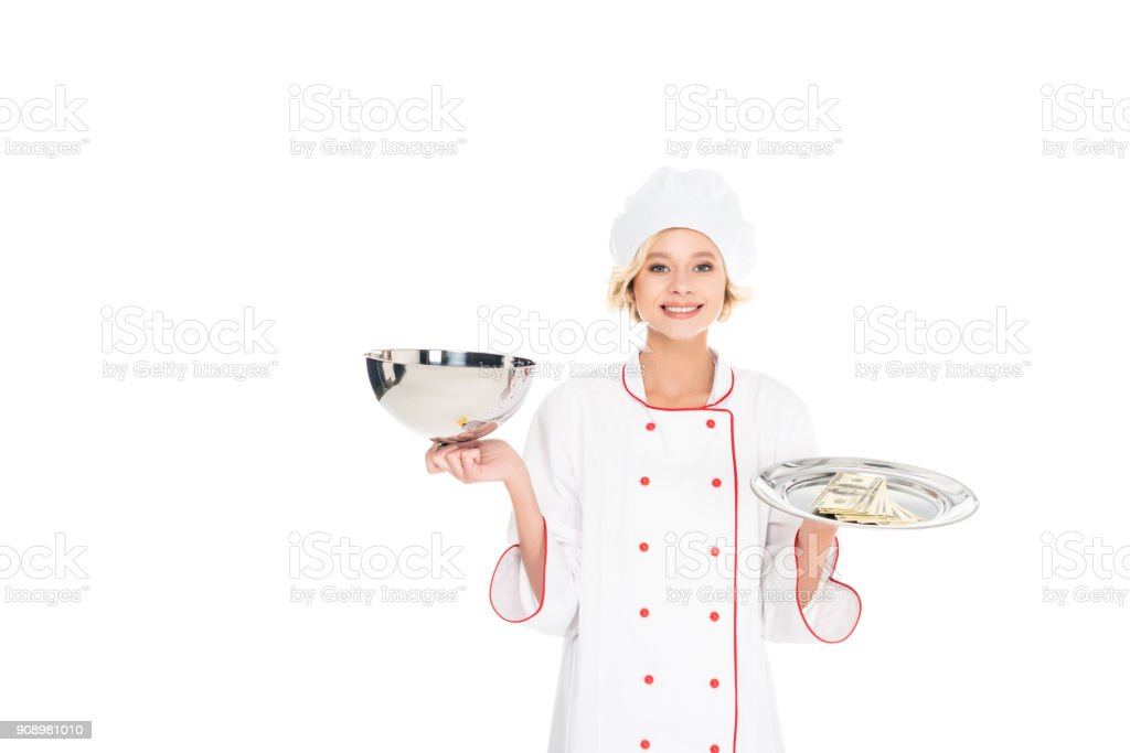 female chef with empty serving tray and money stock photo
