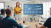 istock Female Chief Analyst Holds Meeting Presentation for a Team of Economists. She Shows Digital Interactive Whiteboard with Growth Analysis, Charts, Statistics and Data. People Work in Creative Office. 1248743383
