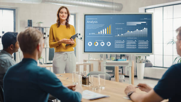 Female Chief Analyst Holds Meeting Presentation for a Team of Economists. She Shows Digital Interactive Whiteboard with Growth Analysis, Charts, Statistics and Data. People Work in Creative Office. stock photo