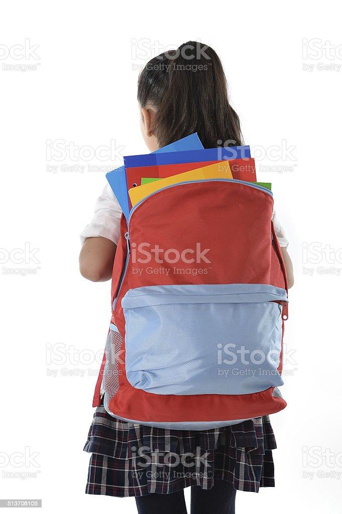 Mulheres Carregando crianças muito pesada mochila ou escola bolsa cheia - foto de acervo
