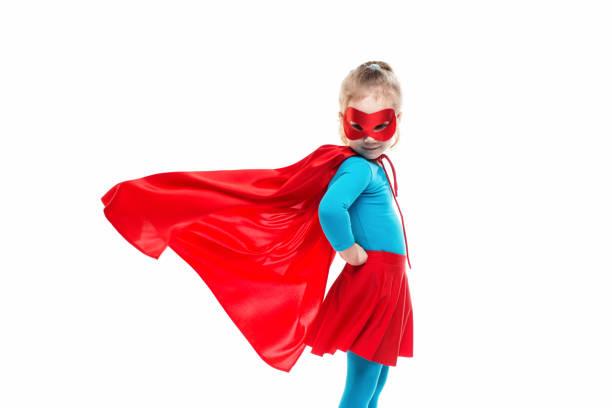 female child in superhero costume. - baby super hero imagens e fotografias de stock