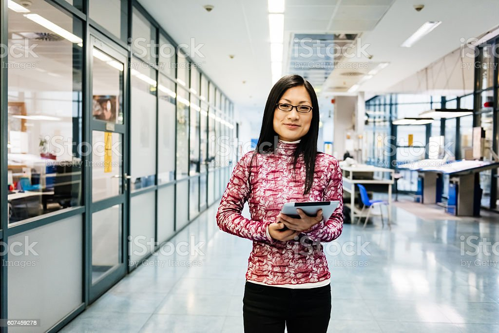 Female chinese engineer portrait stock photo