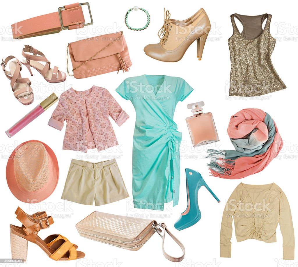 Female clothes collage.Women apparel set.Isolated. stock photo