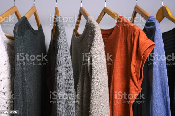 Female clothes hanging on a clothing rack in a shop or home closet picture id845973246?b=1&k=6&m=845973246&s=612x612&h=l jqbzttekizxgufxs6vketz83nwm2otg oa4rtvvx4=
