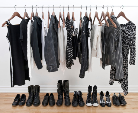 istock Female clothes on hangers and shoes 120119485