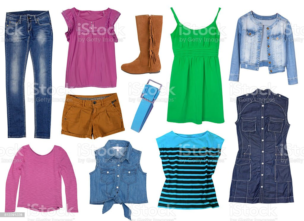 Female clothes set collage isolated. stock photo
