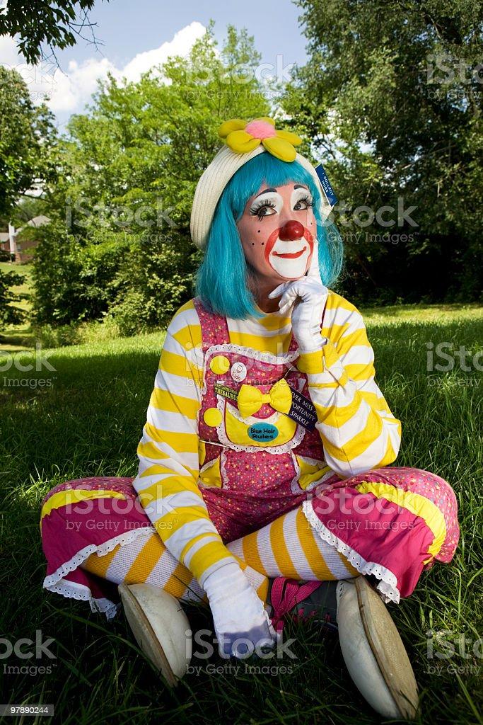 Female Clown Thinking royalty-free stock photo