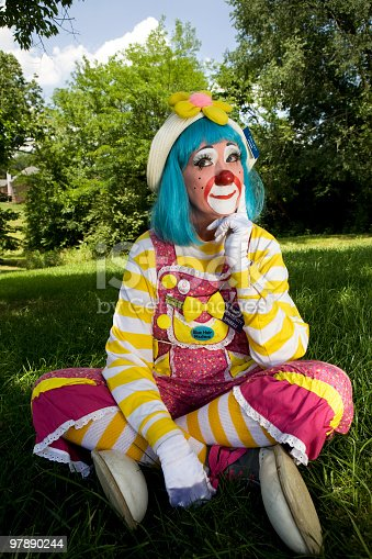 Female Clown Thinking Stock Photo & More Pictures of Adult